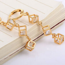 Fashion Crystal Cube Hoop Earrings Yellow Gold plated Korean jewelry Earings