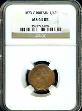GREAT BRITAIN 1873 1/4 PENNY (FARTHING) NGC MS 64 RED-BROWN