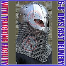 Historial Medieval Viking Helmet Battle Armor+18G Steel and Chainmail