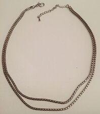 collier vintage couleur argent rodié deux chaines ronde déco 3349