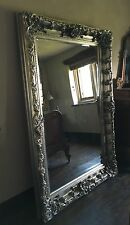 ANTIQUE SILVER 6FT X 4FT LARGE FRENCH LEANER DRESS CHUNKY WOOD WALL MIRROR