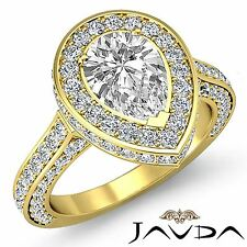 Halo Pre-Set Pear Diamond Engagement Ring GIA F Color VS2 18k Yellow Gold 3.1ct