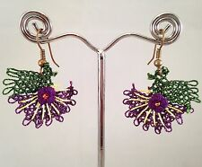Handmade Needle Lace Crochet Earrings Purple Flowers with Yellow Details
