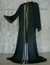 VINTAGE BLACK LACY NYLON PEIGNOIR / ROBE---BUST TO 40""