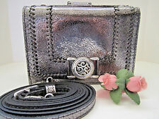 "Brighton ""BARBADOS"" Pewter Metallic Leather Small Organizer (MSR$175) NWT"