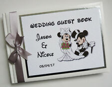 PERSONALISED DISNEY MICKEY & MINNIE WEDDING GUEST BOOK (SILVER) - ANY COLOUR