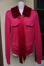 Escada 38 M Mink Fur Collar Pink Sweater Neiman Marcus Saks 6 Cardigan sable fox