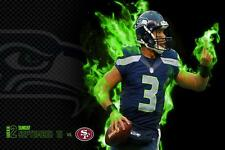Seattle Seahawks Russell Wilson Poster 24x36 Banner Wall Art Home Decor
