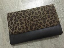 New Big Size Black & Faux Fur Leopard Print Envelope Clutch Bag ShoulderHB001-12