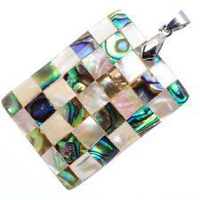 """Mother of Pearl Natural Abalone Sea Shell Rectangle Pendant 1 1/2"""" Jewelry #03-Z"""
