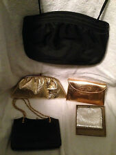 Lot 5 Vintage small Handbags Clutch Evening Bags Purses Gold Black mix