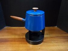 Copco Blue Enamel Fondue Pot Michael Lax Design Holland Teak Handle Burner Stand