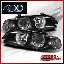 Fits 97-03 BMW E39 5-Series Halo Projector BLK Headlights Lamps Replacement