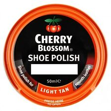 CHERRY BLOSSOM SHOE BOOT POLISH LIGHT TAN 50ML MADE IN ENGLAND