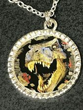 """Dinosaur T-Rex Charm Round Glass Tibetan Silver with 18"""" Necklace BIN"""