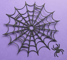 4 Cheery Lynn 'Large Spider Web with Spider' die-cuts on 270gsm black card