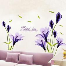 Removable purple lily flower Home living room Mural Art Decal DIY Wall Stickers