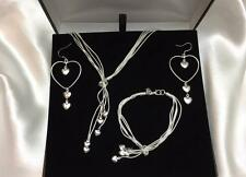 Women's Matching Heart Necklace Earring Bracelet Set 925 Silver CHRISTMAS SALE!