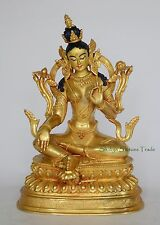 "Hand Carved Gold Face Painted 9.25"" Green Tara Copper Gold Gilded Statue Patan"