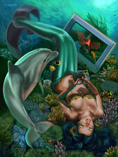 Signed Mermaid Playing Video Games Underwater 13x17 Print by Sandra Chang-Adair