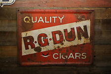 Vintage 1958 R.G. DUN Quality CIGARS Tin Painted Tobacco Store Embossed SIGN