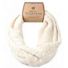 Aran Traditions Womans Ladies Men Winter Warm Knitted Style Cream White Snood