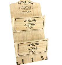 Organizador De Pared De Madera Vintage Casa carta rack clave Ganchos artículos para el hogar decoración del hogar