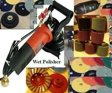 "220V 240V Wet Polisher 2"" Wet Polishing Drum 8 PCS Polishing 40 Pad Granite Cup"
