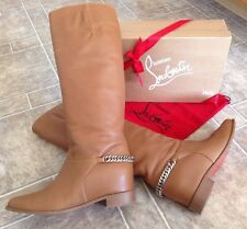 CHRISTIAN LOUBOUTIN CHAIN CATE BOOTS Brown SIZE 39.5 *Sold Out*