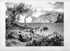 Stampa antica LAGO di GARDA riviera presso Torbole 1877 Old print