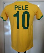 BRAZIL PELE 10 RETRO FOOTBALL T-SHIRT SIZE ADULTS SIZE SMALL BRAND NEW