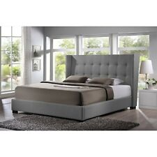 favela gray linen modern bed with upholstered headboard king size new