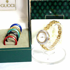 Auth Gucci 11/12.2 Interchangeable 6 Bezels Ladies Quartz Watch White Dial +Box