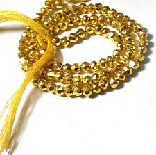"""AAA+ SHINY COATED GOLDEN PYRITE 3-4MM ROUNDEL FACETED LOOSE BEADS 13"""" STRAND"""