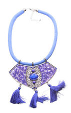 Violet Enamel Flower, Electric Blue Gem/Tassels & Chord Statement Necklace(Ns16)