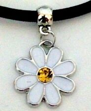 New Leather Choker Charm Necklace Vintage Hippy Retro Black Cord 90 Daisy Flower