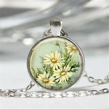 White Daisy Cabochon Glass silver necklace for women men Jewelry #A28