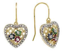 Ohrringe Smaragd Rubin Saphir Diamant HERZ 925  Silber Vergoldet Sterlingsilber