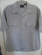 Dickies Short Sleeve Shirt 2XL Gray White Stripes Button Down 100% Cotton