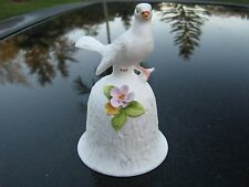 WHITE DOVE BIRD  BELL BY TOWLE WITH FLOWER ACCENT SOME PETAL CHIP  CHEAP