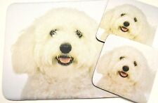 3 pc Set Dog Lover Mouse Pad 9x7 + 2 Coasters MALTESE Puppie Little Gifts