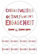 """Engagement Engaged Personalised Iced Cake Topper 7.5 """" + 8 Cupcake Toppers"""
