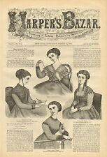Victorian, Ladies Fashion, Dresses, Vintage, 1868 Original, Antique Art Print,