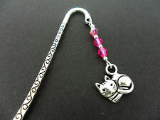 A TIBETAN SILVER  CAT CHARM & PINK CRYSTAL BOOKMARK. NEW.