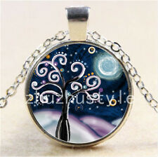 Tree of Life and moon Cabochon Glass Tibet Silver Chain Pendant Necklace