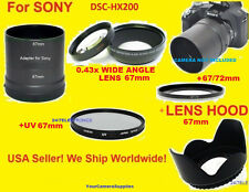 0.43x WIDE ANGLE LENS 72mm+ADAPTER for SONY DSC-HX200+HOOD+UV 67mm+67/72 HX200V