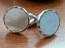 Anson Mother Of Pearl Silver tone Cuff Links