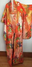 Japanese UCHIKAKE Silk KIMONO Embroidered Wedding Robe Gown Orange Multicolor
