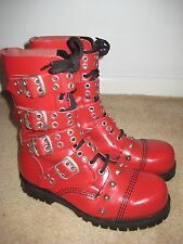 STEEL TOE RED STUD & BUCKLE 10 EYE BOOTS - UNDERGROUND SHOES UK!