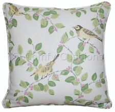 "Pr 16""x16"" Laura Ashley 'Aviary Garden' Apple Green Fabric Piped Cushion Covers"